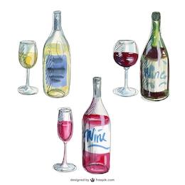 Mão, desenhado, garrafas de vinho
