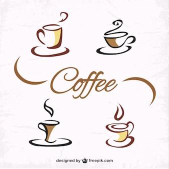 Mão, desenhado, xícaras de café