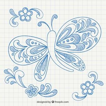 Mão borboleta e ornamentos desenhada