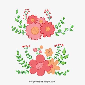 Mão buquê floral desenhada