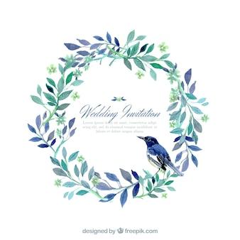 Mão convite de casamento pintado em estilo natureza