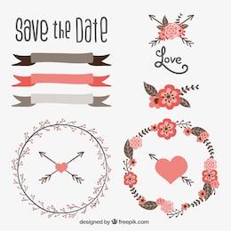 Mão decoração de casamento desenhado