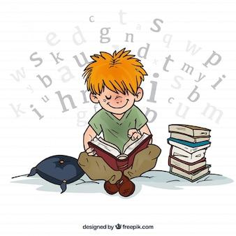 Mão desenhada menino lendo um livro