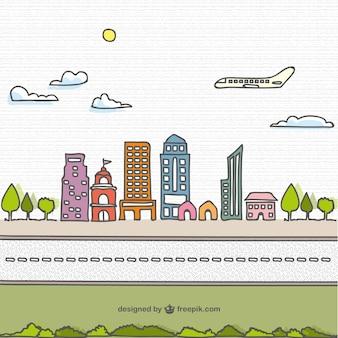 Mão dos desenhos animados desenhados vetor cidade