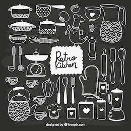 Mão kitchenware tirado no estilo negro