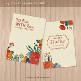 Mão mães pintadas cartão do dia