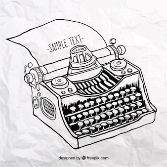 Mão máquina de escrever desenhada
