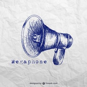 Mão megafone desenhada