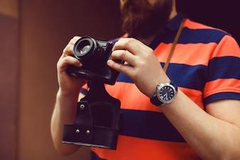 Mão menina jovem feminino fotografia