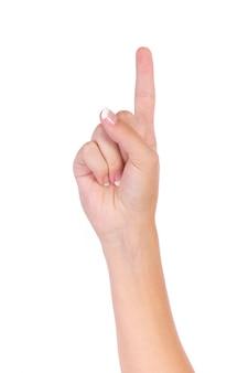 Mão que indica o número um com os dedos