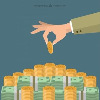 Mão que põr a moeda na escadaria do dinheiro