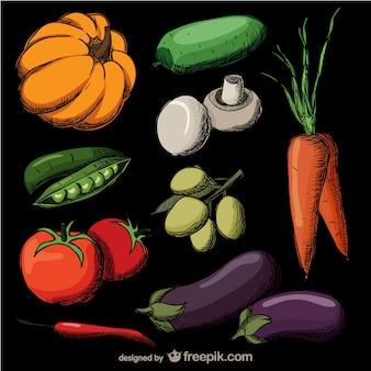 Mão realista colorido legumes desenhado