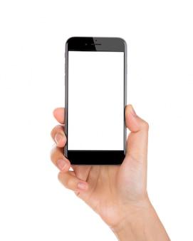 Mão segurando um smartphone com tela em branco