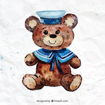 Mão urso de peluche pintado