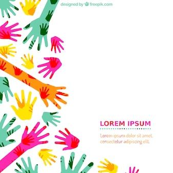Mãos coloridas fundo