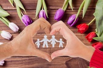 Mãos em forma de coração em torno de uma família