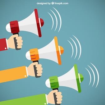 Mãos segurando megafones no estilo dos desenhos animados