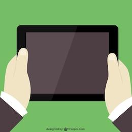 Mãos segurando tablet