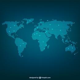 Mapa de mundo feito de pontos