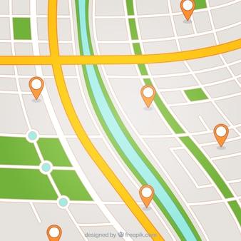 Mapa de rua com ponteiros