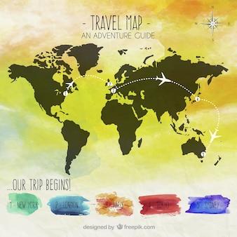 Mapa de viagem da aguarela