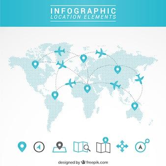 Mapa de viagem infográfico