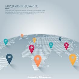 Mapa do mundo com ponteiro infográfico