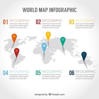 Mapa do mundo infográfico