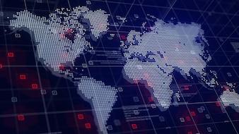 Mapa Mundial Digital Holograma Fundo Azul