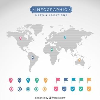 Mapas e locais infográfico
