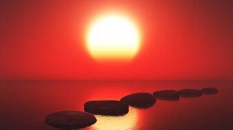 Mar no por do sol com um caminho de pedras