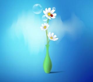Margarida, Primavera, flores vetores vaso definir