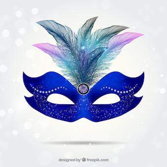 Máscara do carnaval brilhante no tom azul electic