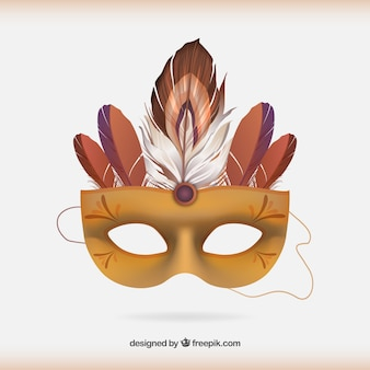 Máscara do carnaval de turquesa com penas