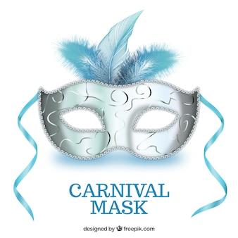 Máscara do carnaval em tons de azul e prata