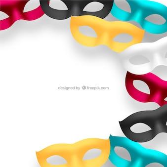 Máscaras do carnaval em cores diferentes