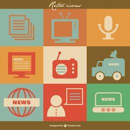 Mass media ícones retro vetor