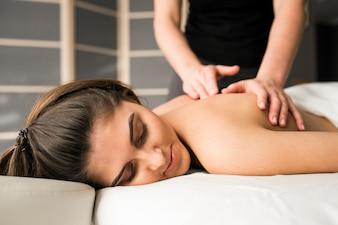 Massagem, mulher, salão, corporal, terapia