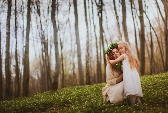 Matriz mommy estilo de vida abraçando a família