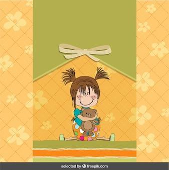 Menina adorável com urso de peluche Cartão do chuveiro de bebê