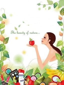 menina bonita com a natureza ilustração vetorial fundo