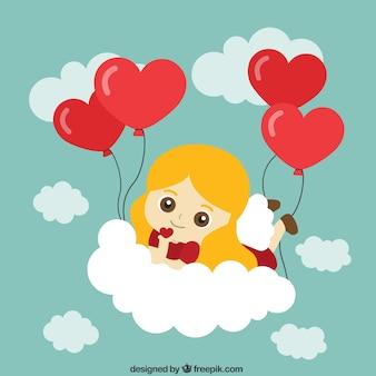 Menina com ballon do coração