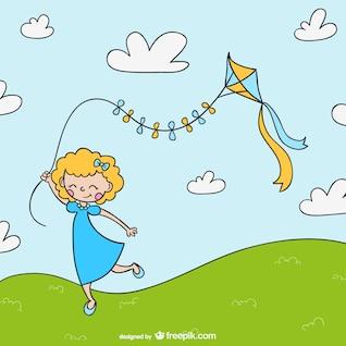 Menina dos desenhos animados com pipa