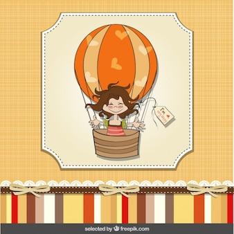 Menina no balão de ar cartão