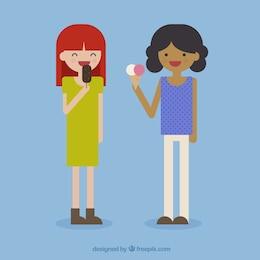 Meninas que comem gelados