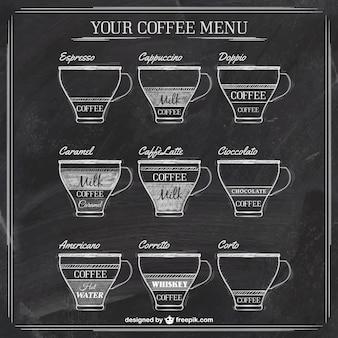 Menu de café no quadro-negro