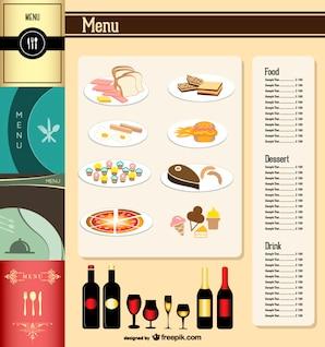 menu do restaurante de material vetor modelo