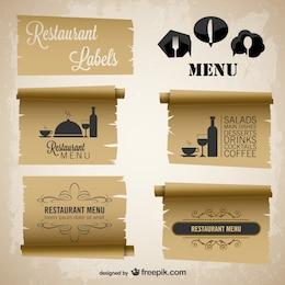 Menu do restaurante etiquetas de papel do vintage conjunto