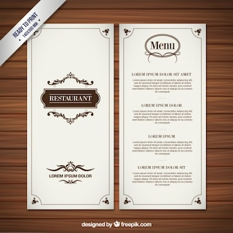 Menu do restaurante no estilo retro
