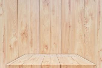 Mesa de madeira ou prateleira com fundo